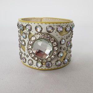 Jewelry - Leather White & Gold Rhinestone Snap Bracelet